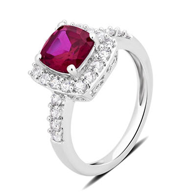 1.50 ct. t.w. Ruby and Created White Sapphire Ring in Sterling Silver