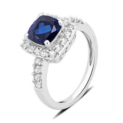 1.50 ct. t.w. Blue Diamond and White Sapphire Ring in Sterling Silver,