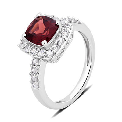 1.50 ct. t.w. Garnet and Created White Sapphire Ring in Sterling Silver