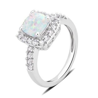 1.50 ct. t.w. Opal and Created White Sapphire Ring in Sterling Silver