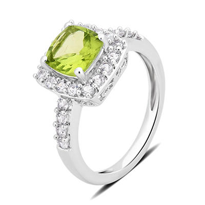 1.50 ct. t.w. Peridot and Created White Sapphire Ring in Sterling Silver
