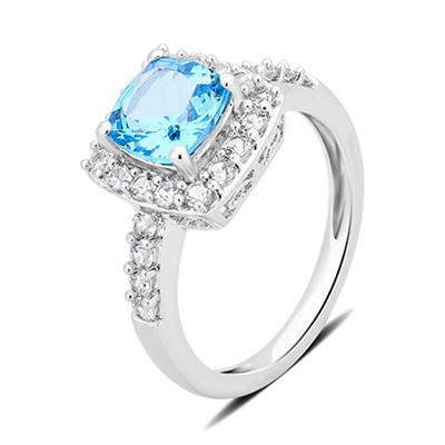 1.50 ct. t.w. Topaz and White Sapphire Ring in Sterling Silver, Size 6