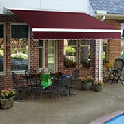 "Awntech DestinLX 10' Left-Facing Retractable Awning with 96"" Projection - Burgundy"