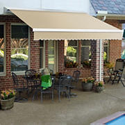 "Awntech DestinLX 14' Left-Facing Retractable Awning with 120"" Projection - Linen"