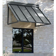 "Awntech Houstonian 3' Metal Standing Seam Awning with 36"" Projection - Pewter"
