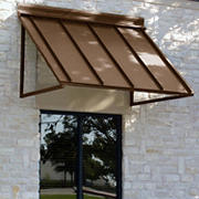 "Awntech Houstonian 4' Metal Standing Seam Awning with 36"" Projection - Bronze"