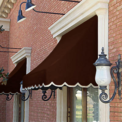 "Awntech Nantucket 4' Crescent Shaped Awning with 24"" Projection - Brow"