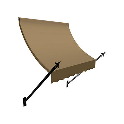 """Awntech New Orleans 5' Spear Arm Awning with 24"""" Projection - Tan"""