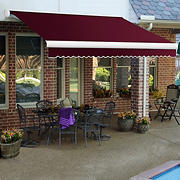 "Awntech Key West 12' Full-Cassette Manual Retractable Awning with 120"" Projection - Burgundy"
