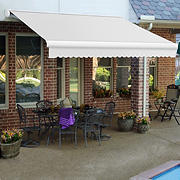 "Awntech Key West 12' Full-Cassette Manual Retractable Awning with 120"" Projection - Off-White"