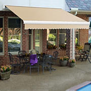 "Awntech Key West 14' Full-Cassette Manual Retractable Awning with 120"" Projection - Linen"