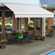 "Awntech Maui 14' Manual Retractable Awning with 120"" Projection - Off-White"