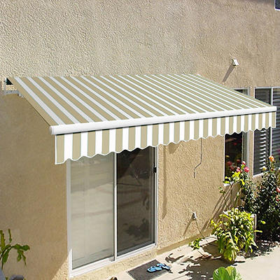 "Awntech California 10' Beauty-Mark Manual Patio Awning with 96"" Projection - Linen and White"
