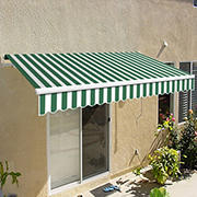 "Awntech California 12' Beauty-Mark Manual Patio Awning with 120"" Projection - Forest Green"