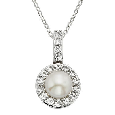 1.00 Gemstone and Created White Sapphire Accents Pendant in Sterling S