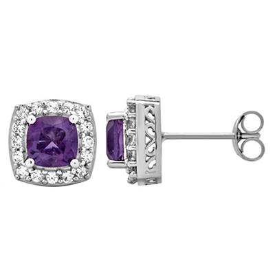 5.25 ct. t.w. Amethyst and Created White Sapphire Accents Halo Stud Ea