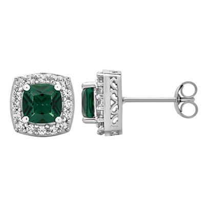 5.25 ct. t.w. Emerald and Created White Sapphire Accents Halo Stud Ear