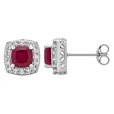5.25 ct. t.w. Ruby and Created White Sapphire Accents Halo Stud Earrin