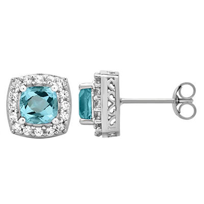 5.25 ct. t.w. Topaz and Created White Sapphire Accents Halo Stud Earri
