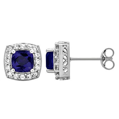 5.25 ct. t.w. Blue Sapphire and Created White Sapphire Accents Halo St