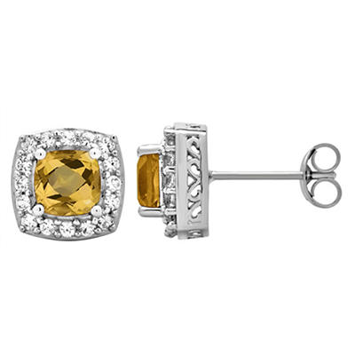 5.25 ct. t.w. Citrine and Created White Sapphire Accents Halo Stud Ear