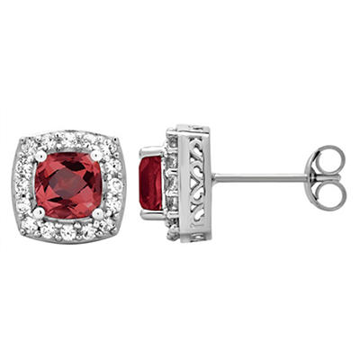5.25 ct. t.w. Garnet and Created White Sapphire Accents Halo Stud Earr