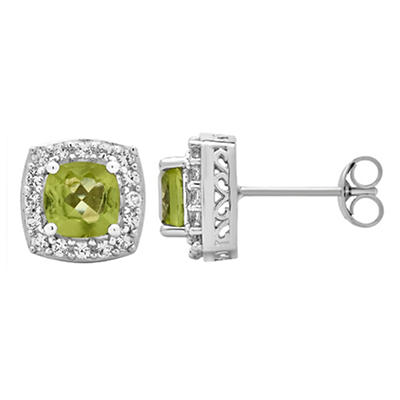 5.25 ct. t.w. Peridot and Created White Sapphire Accents Halo Stud Ear