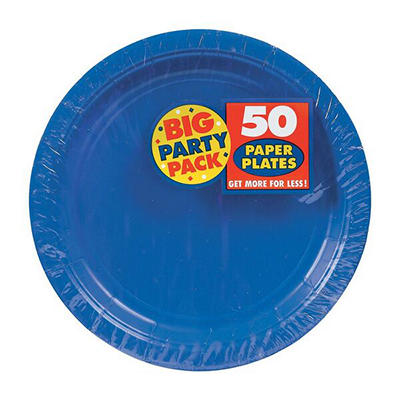 "Amscan 7"" Paper Plates, 300 ct. - Bright Royal Blue"