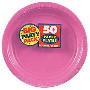 """Amscan 9"""" Paper Plates, 250 ct. - Bright Pink"""