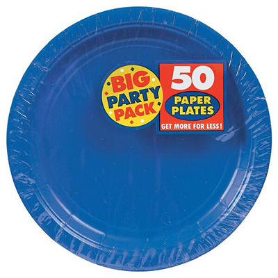 "Amscan 9"" Paper Plates, 250 ct. - Bright Royal Blue"