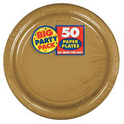 """Amscan 9"""" Paper Plates, 250 ct. - Gold"""