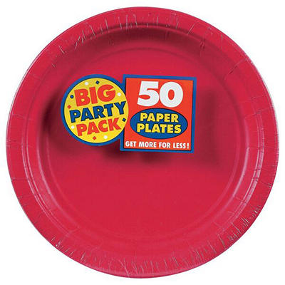 "Amscan 9"" Paper Plates, 250 ct. - Apple Red"