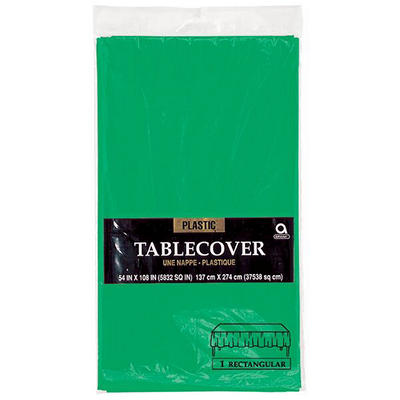 "Amscan 54"" x 108"" Plastic Table Cover, 12 pk. - Festive Green"