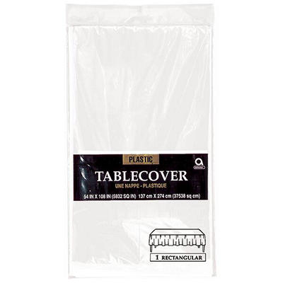 "Amscan 54"" x 108"" Plastic Table Cover, 12 pk. - Frosty White"