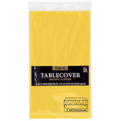"Amscan 54"" x 108"" Plastic Table Cover, 12 pk. - Sunshine Yellow"