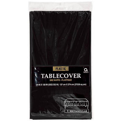 "Amscan 54"" x 108"" Plastic Table Cover, 12 pk. - Black"