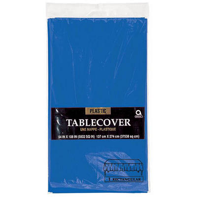 "Amscan 54"" x 108"" Plastic Table Cover, 12 pk. - Bright Royal Blue"
