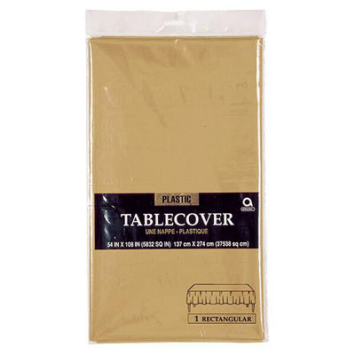 "Amscan 54"" x 108"" Plastic Table Cover, 12 pk. - Gold"