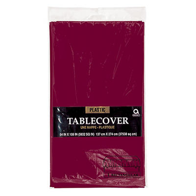 "Amscan 54"" x 108"" Plastic Table Cover, 12 pk. - Berry"