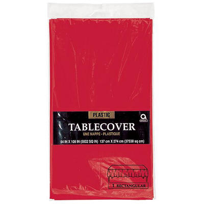 "Amscan 54"" x 108"" Plastic Table Cover, 12 pk. - Apple Red"