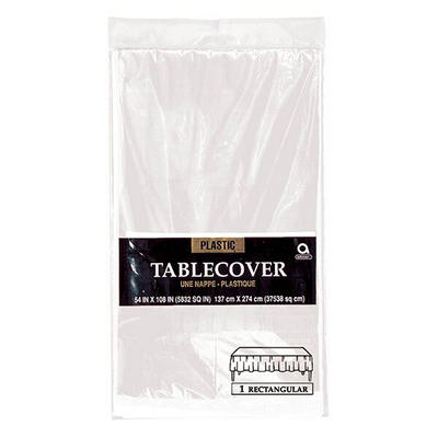 "Amscan 54"" x 108"" Plastic Table Cover, 12 pk. - Clear"