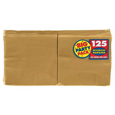 "Amscan 5"" 2-Ply Drink Napkins, 750 ct. - Gold"