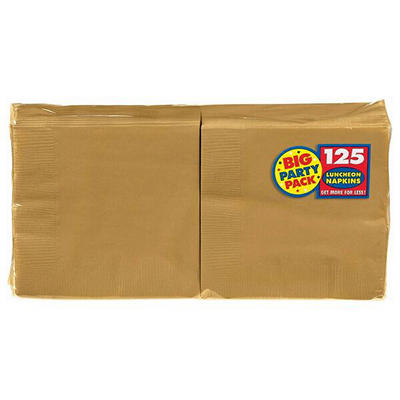 "Amscan 6.5"" 2-Ply Lunch Napkins, 500 ct. - Gold"