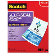Scotch Self-Seal Laminating Pouches, 25 ct.