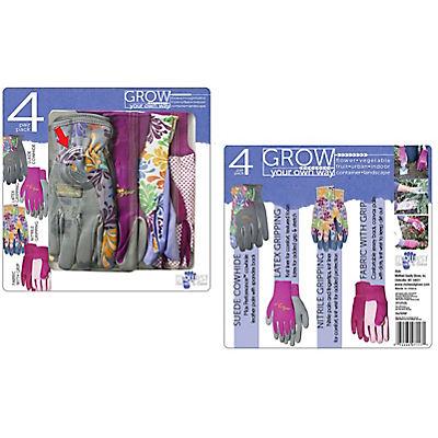 Midwest Gloves & Gear Ladies' Garden Gloves, 4 pk.