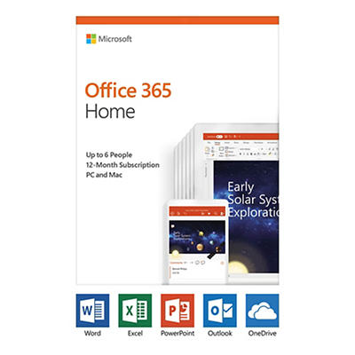 Microsoft Office 365 Home, 12-Month Subscription, Up to 6 People, PC/M