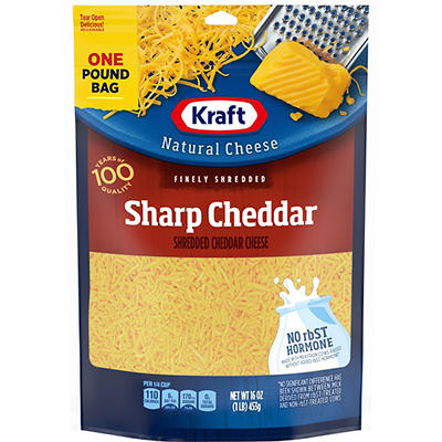 Kraft Natural Cheese Finely Shredded Sharp Cheddar Cheese, 16 oz.