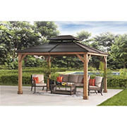 Berkley Jensen 10' x 12' Hardtop Gazebo with Wood Poles