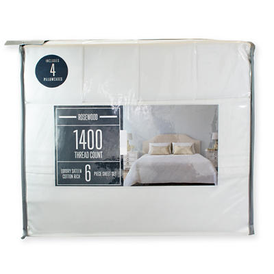 Rosewood 1400-Thread-Count Queen-Size Sheet Set - White