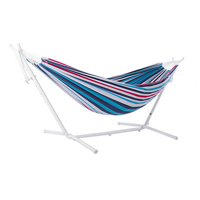 Vivere Double Hammock with White Stand - Denim